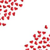 Czerwony serca tło na bielu Zdjęcie Royalty Free