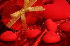 Czerwony serca valentine tło Obrazy Stock