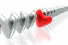 czerwony serca wyjątkowy Obraz Stock
