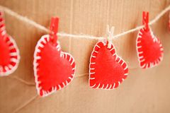 Czerwony serca zakończenie up Obrazy Stock
