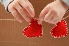 Czerwony serca zakończenie up Zdjęcie Stock