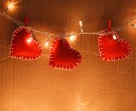 Czerwony serca zakończenie up Zdjęcie Royalty Free