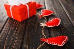 Czerwony serca zakończenie up Fotografia Royalty Free