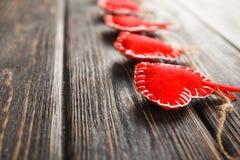 Czerwony serca zakończenie up Zdjęcia Royalty Free