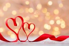 Czerwony serce faborek Walentynka dnia tło Fotografia Stock