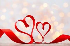 Czerwony serce faborek Walentynka dnia tło Zdjęcie Royalty Free