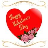 Czerwony serce i róże Zdjęcie Royalty Free