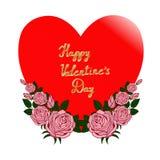 Czerwony serce i róże Obrazy Royalty Free