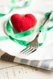 Czerwony serce i zdrowy pojęcie z miarą taśmy Obraz Royalty Free