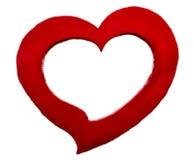 Czerwony serce kształtował beton ramę dla graficznego projekta obraz royalty free
