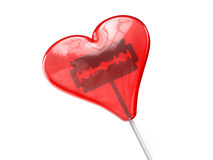 Czerwony serce kształtował lizaka z golenia ostrzem inside Obraz Royalty Free