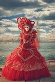 Czerwony serce kształtująca karnawał suknia Obrazy Stock