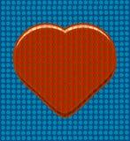 Czerwony serce na błękitnym dziurkowatym tle Fotografia Royalty Free
