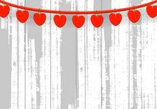 Czerwony serce na białym drewnianym tle Zdjęcia Royalty Free