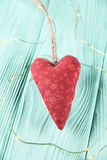 Czerwony serce na drewnianym tle Obraz Royalty Free