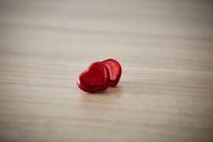 Czerwony serce na drewnie Zdjęcia Royalty Free