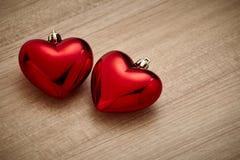 Czerwony serce na drewnie Fotografia Royalty Free