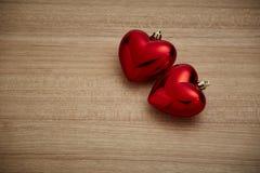 Czerwony serce na drewnie Fotografia Stock