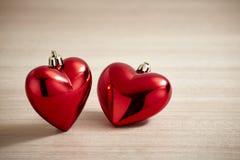 Czerwony serce na drewnie Zdjęcia Stock