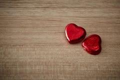 Czerwony serce na drewnie Zdjęcie Stock