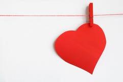 Czerwony serce na linii Obraz Stock