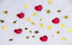 Czerwony serce na śniegu Obraz Royalty Free