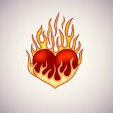 Czerwony serce na pożarniczym tatuażu Zdjęcia Stock