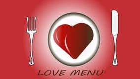 Czerwony serce na talerzu, rozwidleniach i nożu, miłość menu Wektorowa ilustracja - miłość, valentine ` s dzień ilustracja wektor