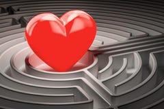 Czerwony serce przy centrum labirynt, znajduje miłości pojęcie - ludzki charakter - 3d rend royalty ilustracja