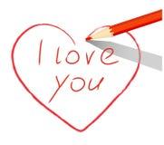 Czerwony serce rysujący z ołówkiem kocham ciebie ilustracji