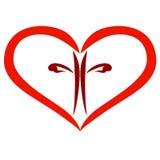 Czerwony serce z brązu krzyżem wśrodku, chrześcijaństwo ilustracji