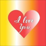 Czerwony serce z inskrypcją kocham ciebie Obraz Stock