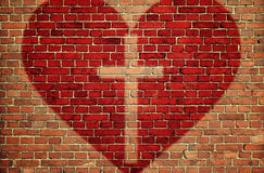 Czerwony serce z krzyżem zdjęcie stock