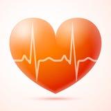 Czerwony serce z pulsem odizolowywającym Zdjęcie Royalty Free
