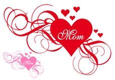 Czerwony serce z zawijasami, matka dnia karta Zdjęcie Royalty Free