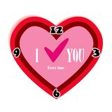 Czerwony sercowaty zegar. O miłości cały czas. Zdjęcie Royalty Free
