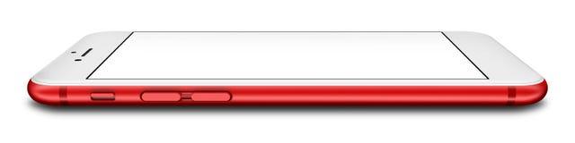 Czerwony smartphone z pustym ekranem, odosobnionym na białym tle Obraz Stock