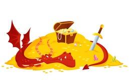 Czerwony smok chroni jego złotego skarb ilustracja wektor