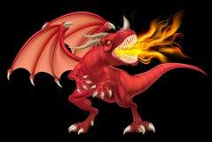 Czerwony smoka oddychania ogień ilustracja wektor