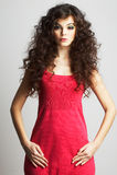 czerwony smokingowa brunetki dziewczyny Obraz Stock