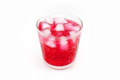 Czerwony sok z lodem w szkle Obraz Stock
