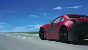 Czerwony sporta samochód (od behind, pętla) ilustracji