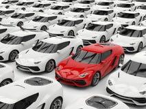 Czerwony sporta samochód stoi out wśród białych samochodów ilustracji