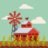 Czerwony stajni i gospodarstwa rolnego krajobraz royalty ilustracja