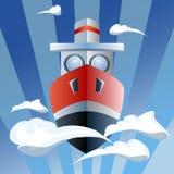 Czerwony statek w powietrzu, chmury ilustracja wektor