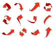 Czerwony strzał 3d set Pieniężnego strzałkowatego wzrostowego spadku różna ewidencyjna ścieżka w górę puszka interfejsu kierunku  ilustracji