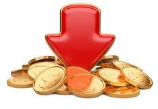 Czerwony strzała puszek i złote monety, biznesowy pojęcie Zdjęcia Royalty Free