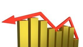 Czerwony strzałkowaty obsiadanie na górze kurczyć się złocistych bary reprezentuje ekonomicznego niepowodzenia i recesji obrazy royalty free