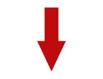 Czerwony strzałkowaty target919_0_ w dół Obraz Royalty Free