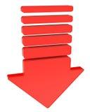Czerwony strzałkowaty wskazywać w dół ilustracji
